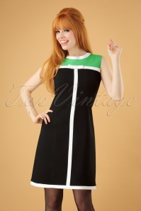 60s Renae A-Line Dress in Black and Green
