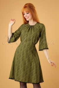 70s Fern Zigzag Dress in Mustard