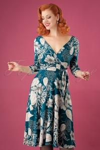 50s Lenora Floral Midi Dress in Teal