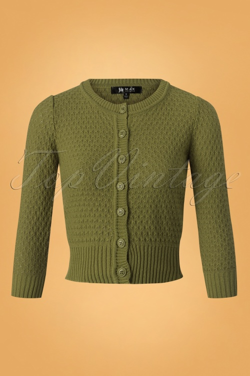 Mak Sweater 50s Jennie Olive Green Cardigan 140 80 26693 20180806 0002W