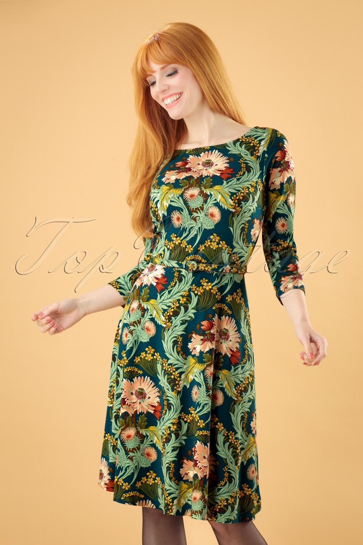 500 Vintage Style Dresses for Sale 60s Betty Baroque Dress in Orient Blue £89.63 AT vintagedancer.com