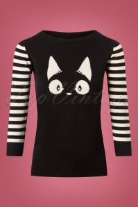 60s Debbie Cat striped Sweater in Black