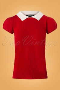60s Kristen Polo Sweater in Red and Ivory