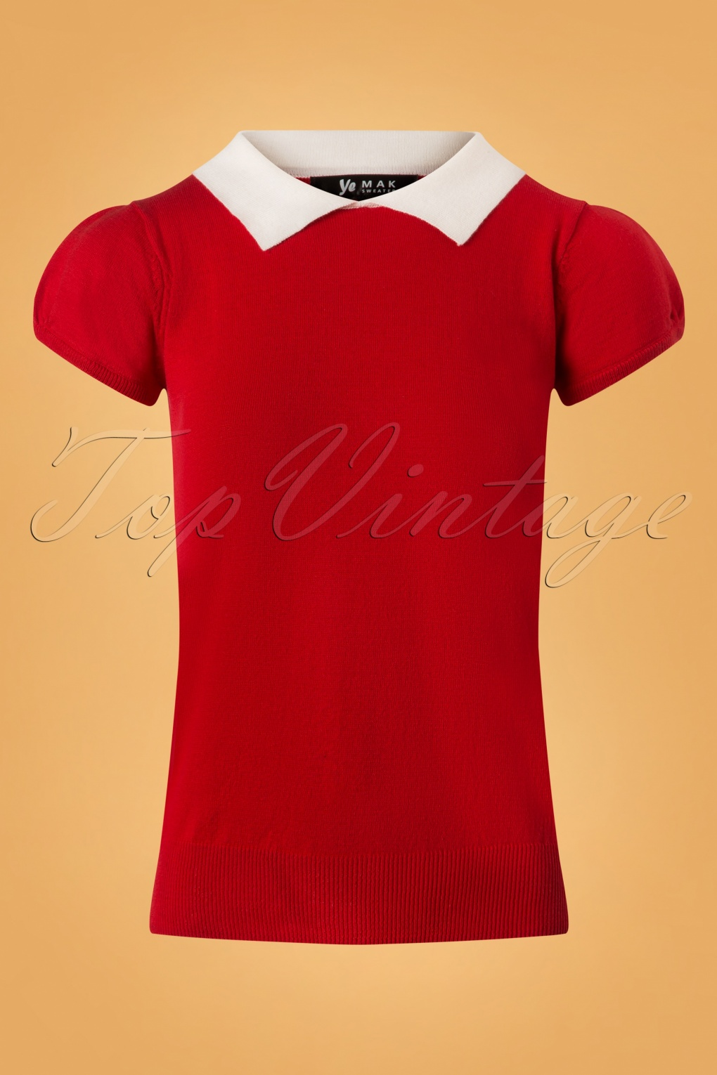 1960s Style Dresses, Clothing, Shoes UK 60s Kristen Polo Sweater in Red and Ivory £26.21 AT vintagedancer.com