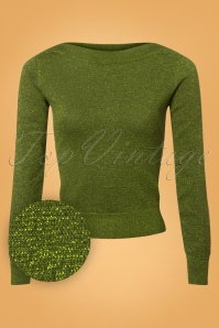50s Audrey Lapis Top in Posey Green