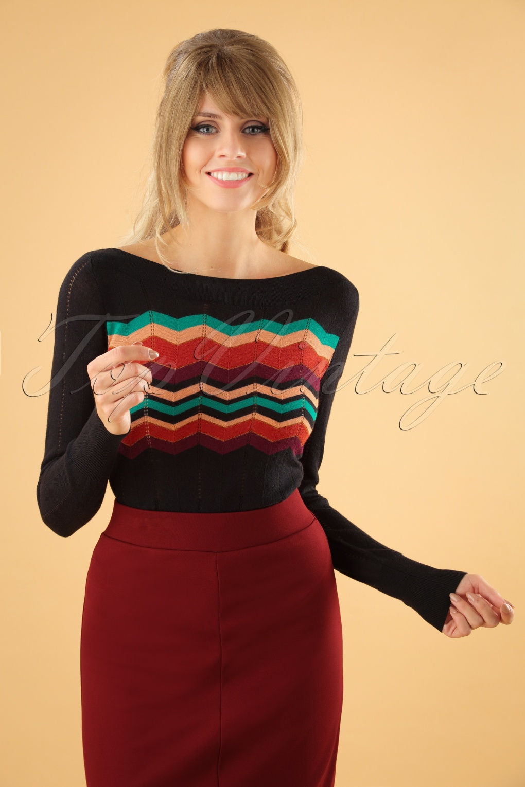 Vintage Sweaters: Cable Knit, Fair Isle Cardigans & Sweaters 60s Audrey Peaky Top in Black £79.59 AT vintagedancer.com