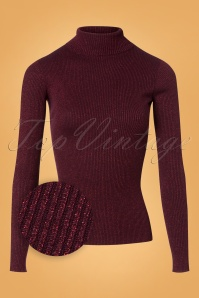 70s Rollneck Rib Lapis Top in Bordeaux Red