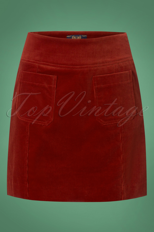 60s Skirts | 70s Hippie Skirts 60s Lucie Corduroy Skirt in Sienna Red £62.73 AT vintagedancer.com