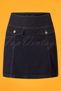 60s Lucie Denim Skirt in Ink Blue