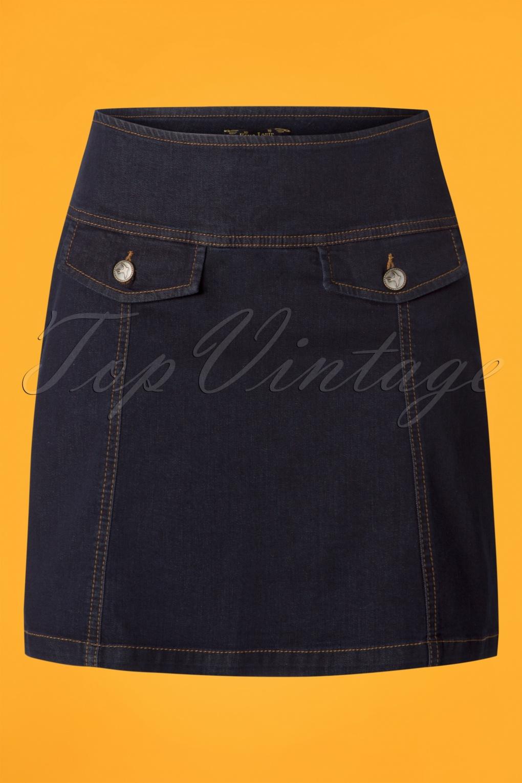 60s Skirts | 70s Hippie Skirts 60s Lucie Denim Skirt in Ink Blue £67.21 AT vintagedancer.com