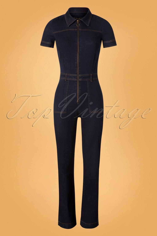70s Garbo Denim Jumpsuit in Ink Blue