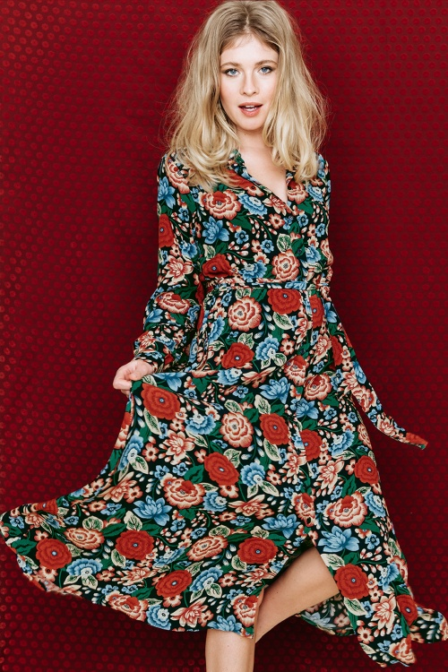 King Louie 70s Floral Midi Dress  102 39 25232 20180807 0005