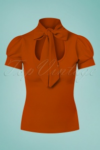 Vintage Chic 50s Bonnie T Strap Top in Cinnamon 110 21 26710 20170719 0004w