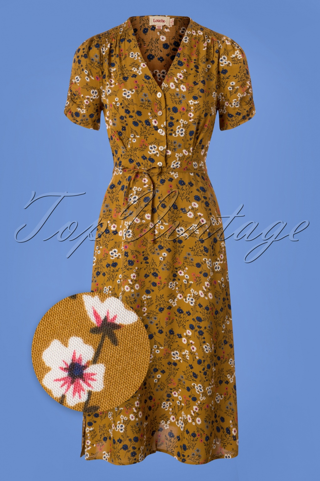 1940s Style Dresses | 40s Dress, Swing Dress 40s Chantal Ditsy Tea Dress in Mustard £67.21 AT vintagedancer.com