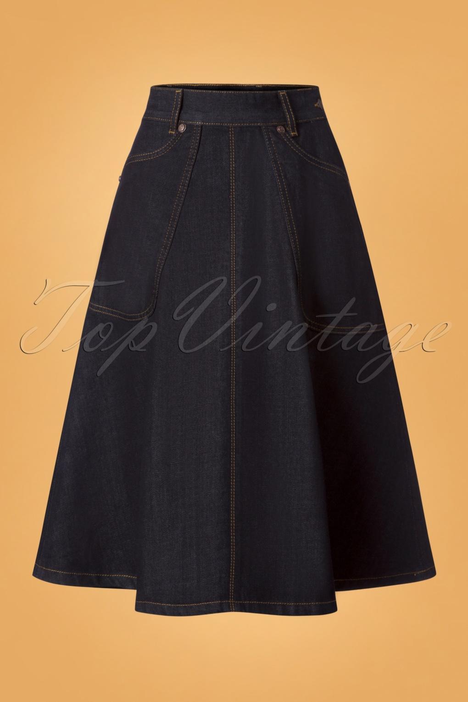60s Skirts | 70s Hippie Skirts 50s Rocking Rosie Jeans Skirt in Denim Blue £88.73 AT vintagedancer.com