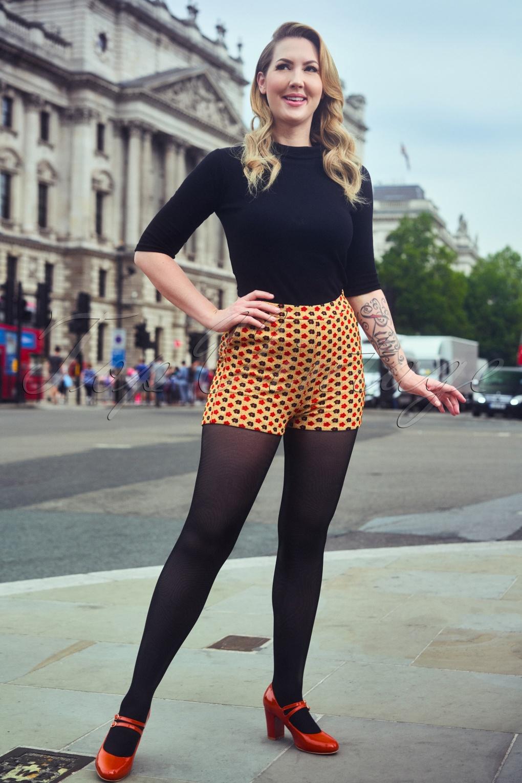 Vintage High Waisted Shorts, Sailor Shorts, Capris 60s Olivia Chic Short in Cream £56.92 AT vintagedancer.com