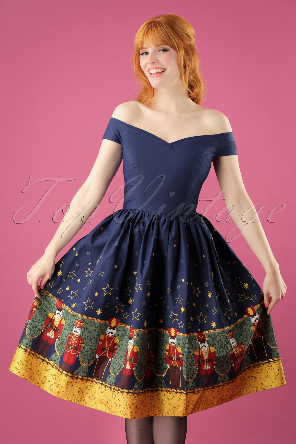 Vintage Christmas Dress | Party Dresses | Night Out Outfits 50s Nutcracker Swing Dress in Navy £56.87 AT vintagedancer.com