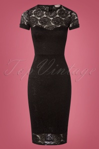 Vintage Chic Rose Lace Dress in Black 100 10 26349 20180810 0002W