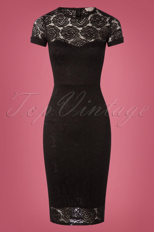 1950s Prom Dresses & Party Dresses 50s Kathleen Lace Pencil Dress in Black £49.18 AT vintagedancer.com