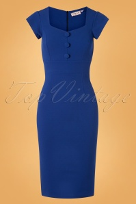 50s Sandy Pencil Dress in Royal Blue