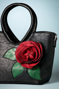 La Parisienne Red Rose Handbag in Black 212 14 26739 20180802 0016