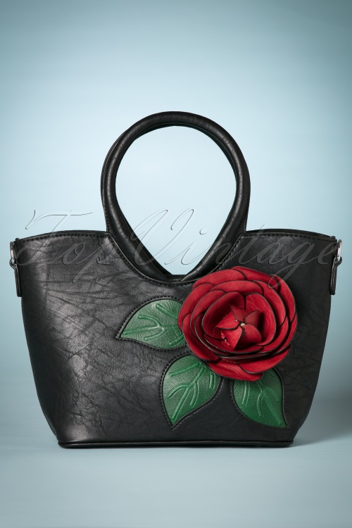 La Parisienne Red Rose Handbag in Black 212 14 26739 20180802 0009w