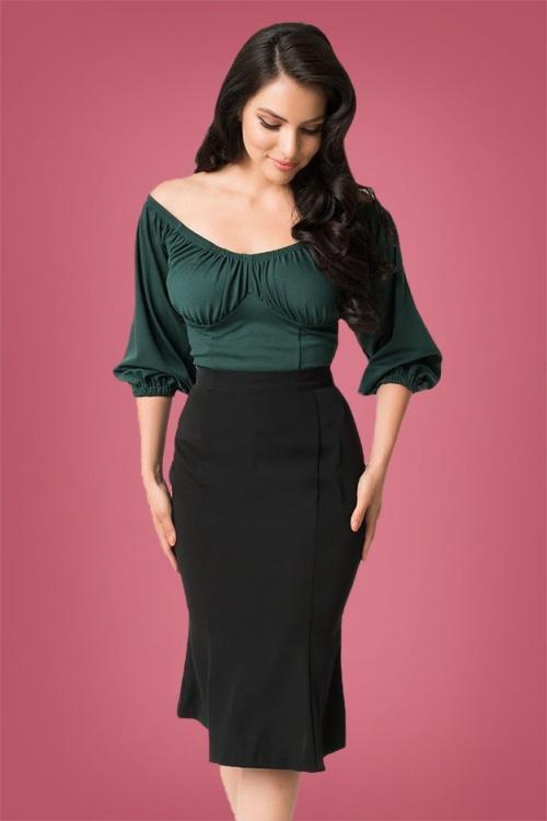 Micheline Pitt for Unique Vintage  Sassefras Black Pencil Skirt 120 10 26749 20180813 03