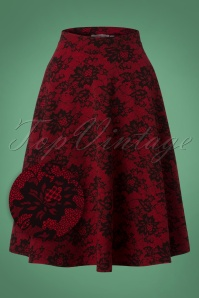 50s Sheila Lace Print Swing Skirt in Red