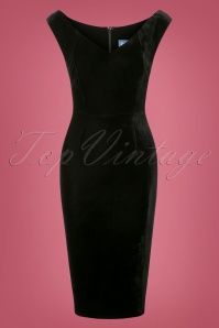 50s Maica Velvet Pencil Dress in Black