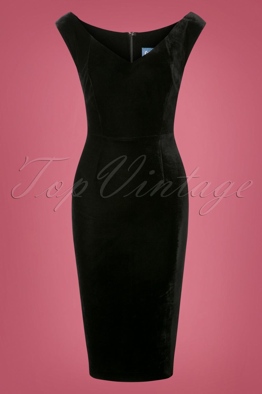 50s Maica Velvet Pencil Dress In Black