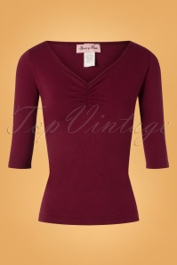 50s Teri Top in Burgundy