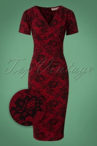 50s Scylla Lace Print Pencil Dress in Red