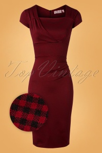 Laila Gingham Pencil Dress Années 50 en Bordeaux