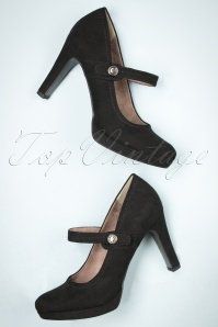 50s Classy Suedine Mary Jane Pumps in Black