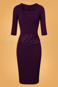 Vintage Chic Dark Purple Rhonda Pencil Dress 100 60 26404 20170918 0004W