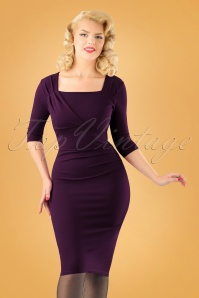 Vintage Chic Dark Purple Rhonda Pencil Dress 100 60 26404 20170918 0007w
