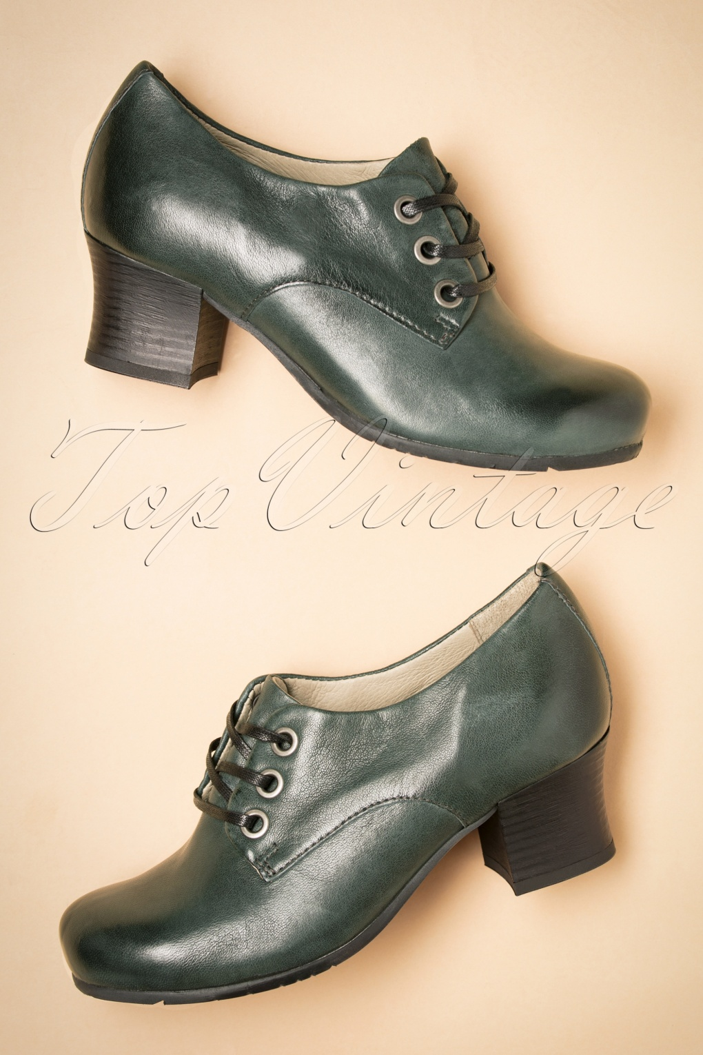 1940s Style Shoes, 40s Shoes 40s Fantina Booties in Dark Green £114.85 AT vintagedancer.com