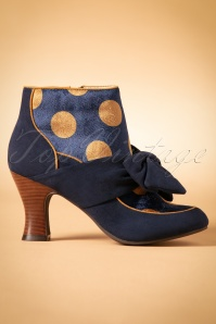 60s Seren Polkadot Booties in Navy