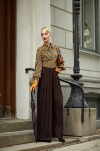 Miss Candyfloss Brown Pinstripe Trousers 26302 20180802 1