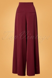 Miss Candyfloss Wide Leg Trousers in Wine Red 26303 20180802 0009W