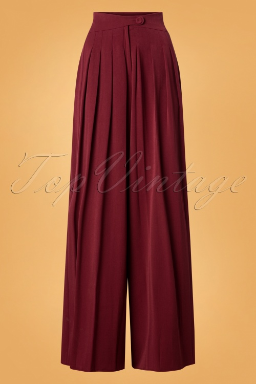 Miss Candyfloss Wide Leg Trousers in Wine Red 26303 20180802 0004W