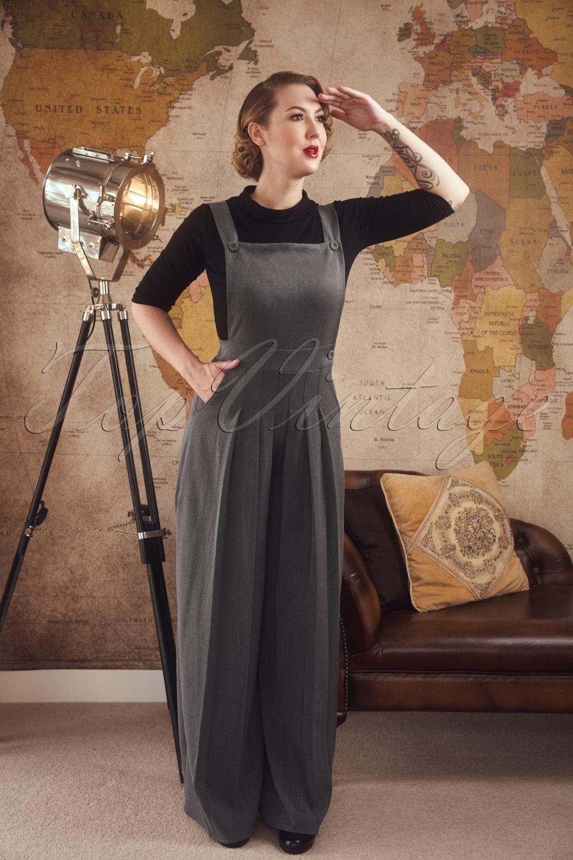 1940s Swing Pants & Sailor Trousers- Wide Leg, High Waist 40s Glenda Dungarees in Grey £93.54 AT vintagedancer.com