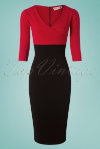 Vintage Chic 3 4 Sleeve Red Black Pencil Dress 100 20 26336 20180813 0002w