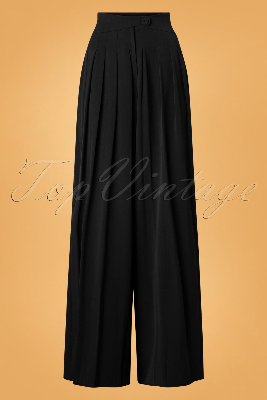 1940s Swing Pants & Sailor Trousers- Wide Leg, High Waist 40s Anouk Wide Leg Trousers in Black £69.08 AT vintagedancer.com