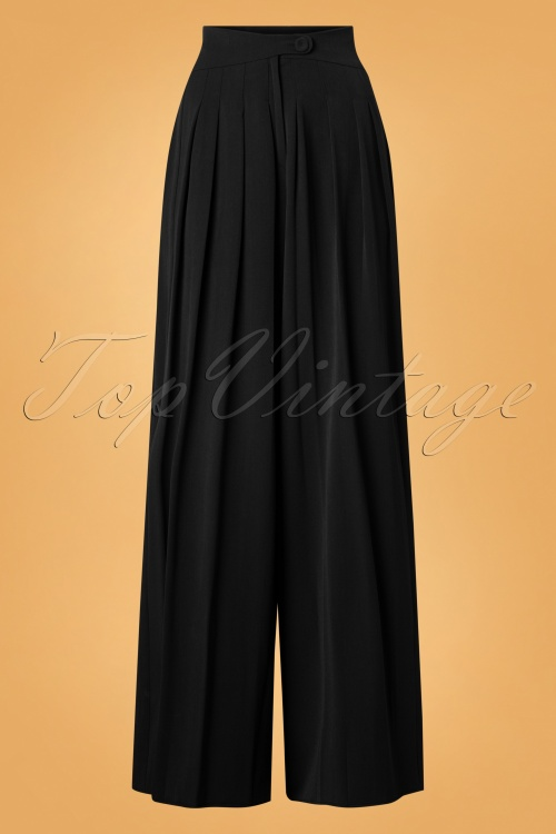 Miss Candyfloss Wide Leg Trousers in Black 26304 20180802 0004W