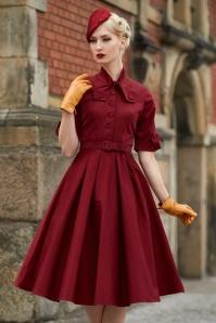 40s Lea Swing Dress in Wine