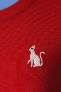 Louche  Idie Cat Cardigan in Red 140 20 25938 20180814 0006a