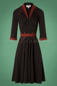 50s Viveca Lou Swing Dress in Black and Red