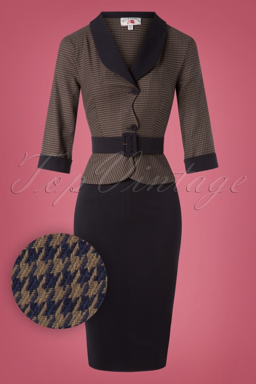 Miss Candyfloss Navy and Brown Houndstooth Dress 100 39 26328 20180815 0014W1