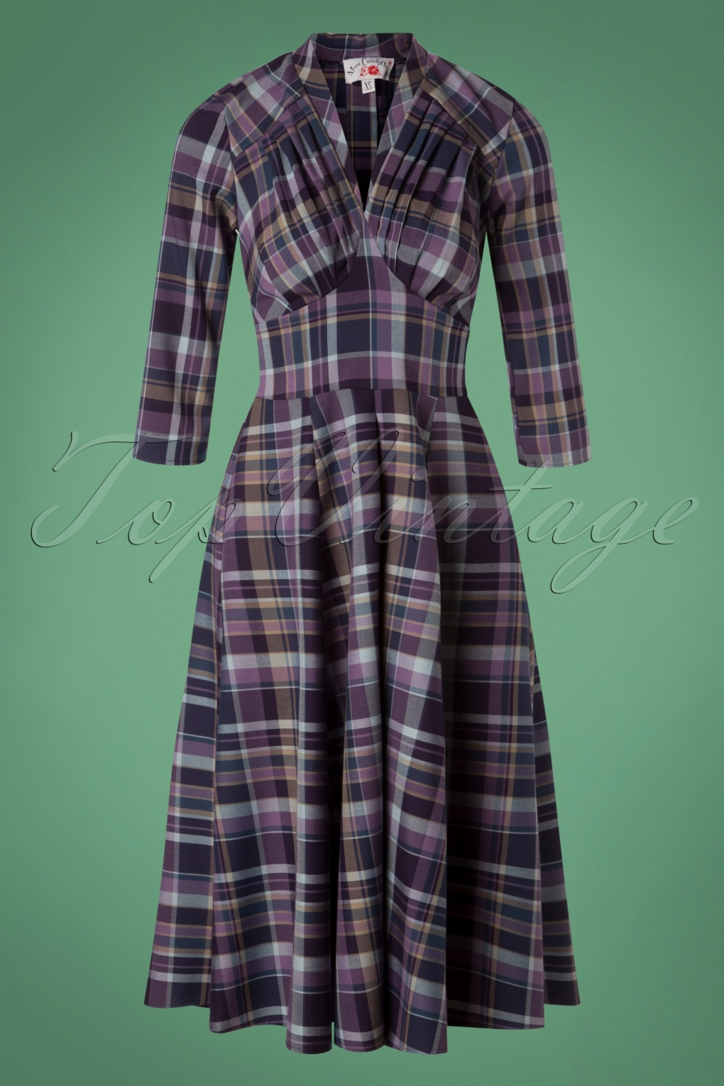 1950s Housewife Dress | 50s Day Dresses TopVintage exclusive  50s Valeria Tartan Swing Dress in Purple £94.01 AT vintagedancer.com